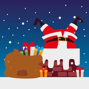많은 선물 장식 일러스트와 함께 굴뚝에서 메리 크리스마스 산타