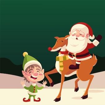 Счастливого рождества санта в оленях и помощниках мультяшный праздник иллюстрации