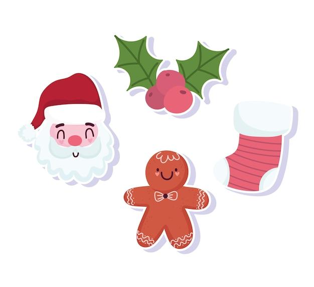 メリークリスマス、サンタ靴下ジンジャーブレッドクッキーヒイラギベリーアイコンベクトルイラスト