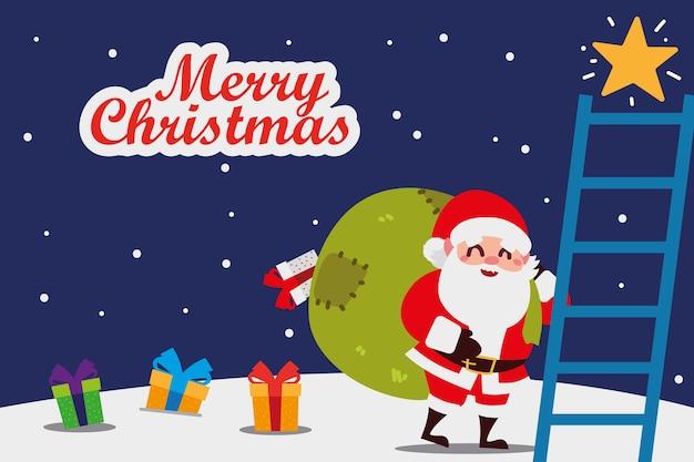 Счастливого рождества санта-клаус с сумкой, подарками и лестницей
