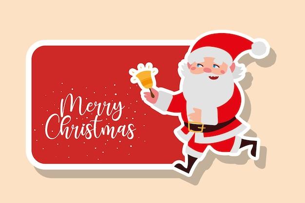Счастливого рождества санта-клаус с иллюстрацией стикера украшения колокола