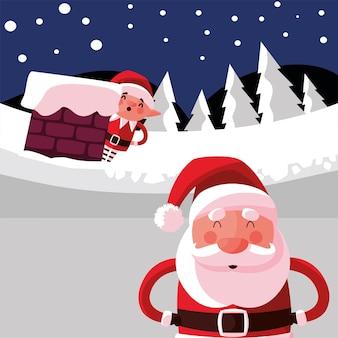 굴뚝 그림에서 도우미와 함께 메리 크리스마스 산타