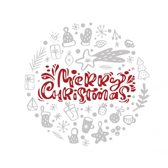 Merry christmas  scandinavian calligraphic vintage text in form of round ball