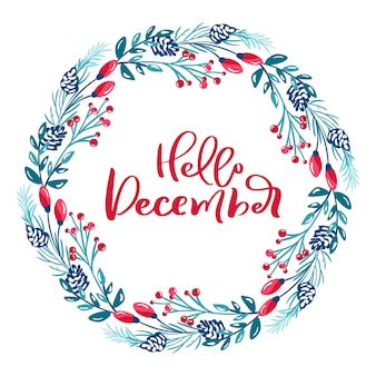 Merry christmas  scandinavian calligraphic vintage text. winter wreath