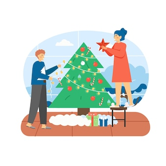 Merry christmas scene. happy couple decorating christmas tree with toys and garland