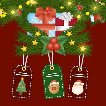 Merry christmas scene with gift and tags hanging