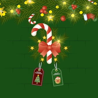 Merry christmas scene with sweet cane and tags hanging