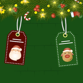 Merry christmas scene with wreath and tags hanging