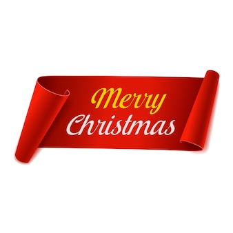 Merry christmas scroll paper banner. red paper ribbon on white background. realistic label. isolated vector illustration