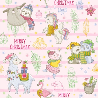 Merry christmas seamless background. cute cartoon animals. tropical pattern with sloth, lama, panda