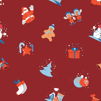 Merry christmas seamless background with santa claus, kids cute cartoon character.