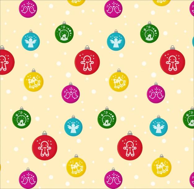 メリークリスマス。シームレスなクリスマスボールのパターン。