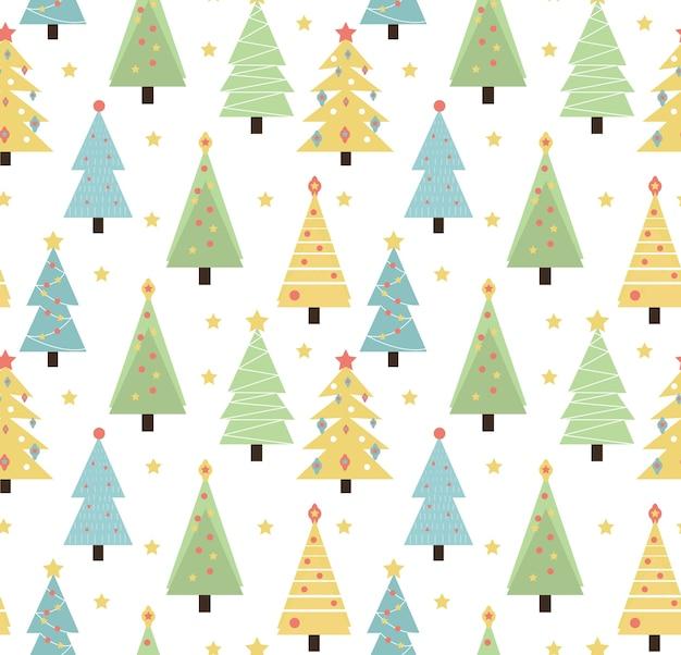 メリークリスマスのシームレスなパターン。かわいいクリスマスツリー