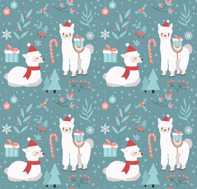 メリークリスマスのシームレスなパターン。テクスチャを繰り返す冬の森のかわいいラマ。リトルアルパカ