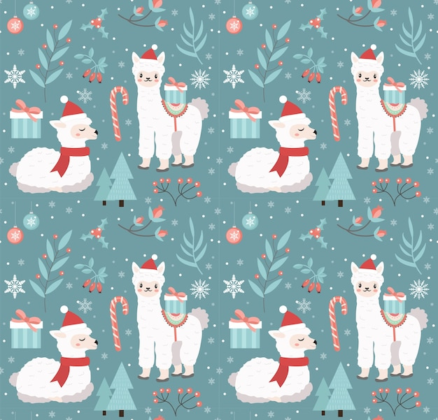 Merry christmas seamless pattern. cute llama in winter forest repeating texture. little alpaca