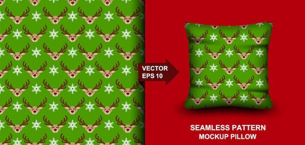 メリークリスマスのシームレスなパターン。鹿の背景。