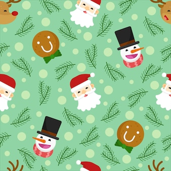 Merry christmas seamless pattern, deer, santa, snowman, gingerbread flat design.