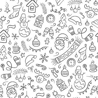 Merry christmas. seamless pattern in doodle style. black and white