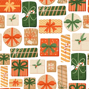 Merry christmas seamless pattern with gifts.