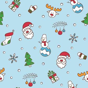 メリークリスマスサンタクロースのクリスマスツリートナカイ雪だるまギフトとのシームレスなパターン
