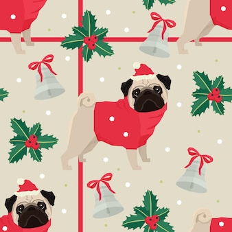 Merry Christmas Seamless pattern with the pugs