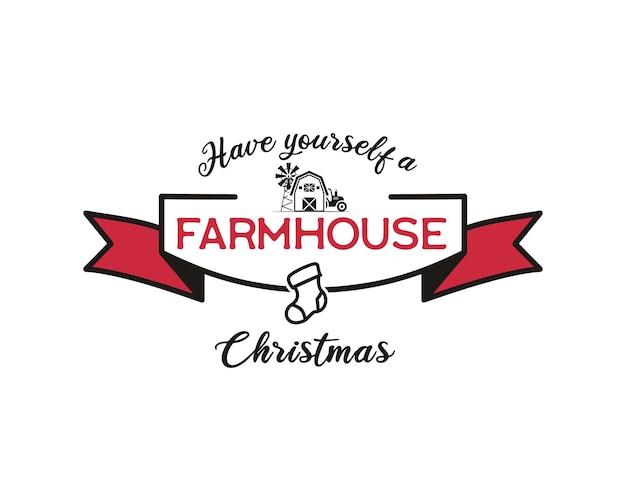 С рождеством христовым графический принт, дизайн футболки для рождественской вечеринки, cricut. праздничный декор с украшениями и забавным рождественским текстом - сделайте себе рождество на ферме. эмблема векторного.
