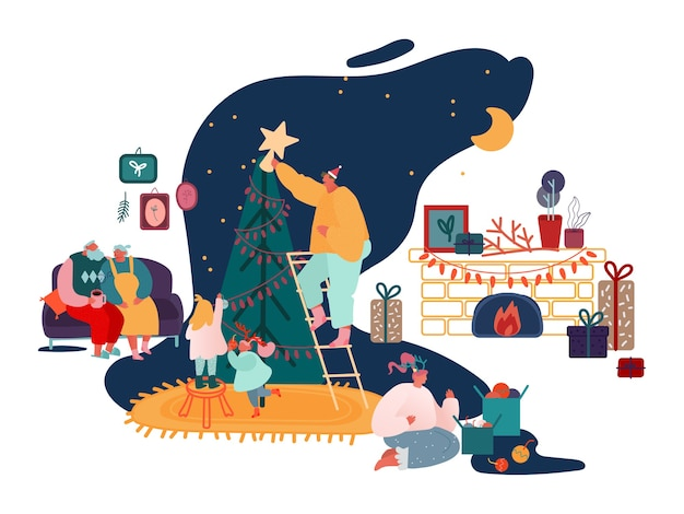 Merry christmas season and winter new year family celebration set, parents and children decorating xmas tree, sing carols, packing presents at fireplace scenes.