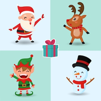 Merry christmas. set of cute christmas characters.