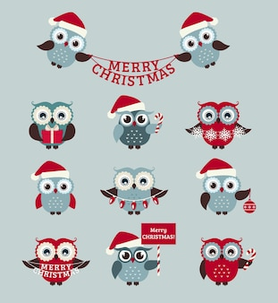 Merry christmas! set of cute owls for holiday design.
