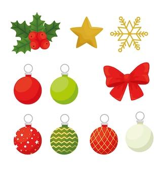 Merry christmas set icons design, winter season and decoration