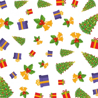 Merry christmas set icons pattern