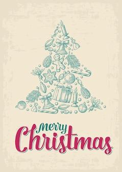전나무 트리 모양 벡터 빈티지 조각 그림에서 설정하는 메리 크리스마스