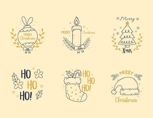 메리 크리스마스 세트 레이블 장식 촛불 나무 양말과 공 일러스트