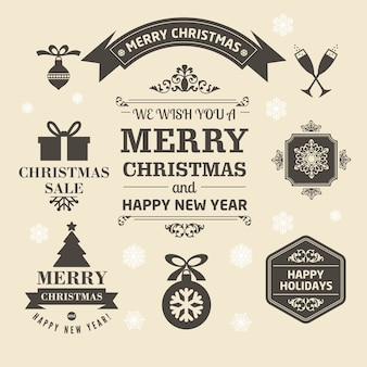 Merry christmas set of medal in retro style