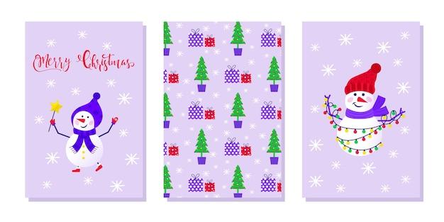 新年あけましておめでとうございますプレゼントのための雪だるまと雪片とかわいいグリーティングカードのメリークリスマスセット。招待状、子供部屋、保育園の装飾、インテリアデザイン、ステッカー用のスカンジナビアスタイルのセット