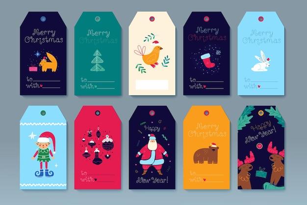 메리 크리스마스 선물 태그 템플릿 인사말 카드 레이블 행복 한 새 해 만화 그림의 세트