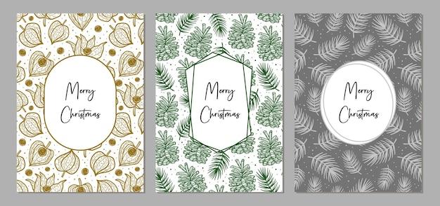 グリーティングカードのメリークリスマスセット。休日の装飾。スカンジナビアスタイル。印刷の準備ができました。モダンでエレガントなデザイン。