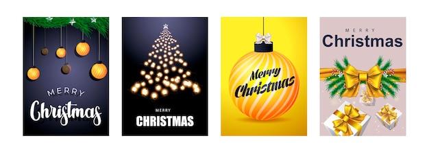 나무 가지와 크리스마스 공이 있는 포스터 또는 전단지 인사말 카드 디자인의 메리 크리스마스 세트