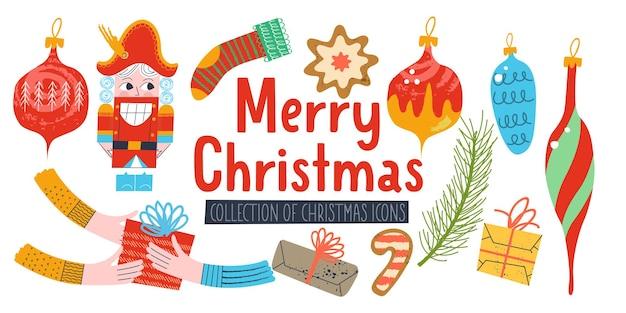 クリスマスの装飾のベクトル要素のメリークリスマスセットクリスマスの装飾