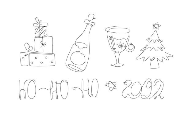 메리 크리스마스 세트 한 줄은 새해 요소 라인 아트 크리스마스 컬렉션을 크리스마스 트리로 설정합니다.