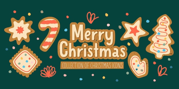 Merry christmas a set of vector elements christmas cookies with icing sugar greeting card