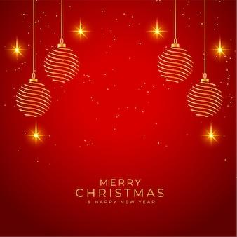 メリークリスマスの光沢のある赤と金色の背景