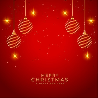 Merry christmas shiny red and golden background