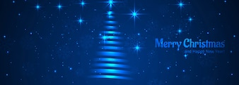 Merry christmas shiny tree blue header template vector