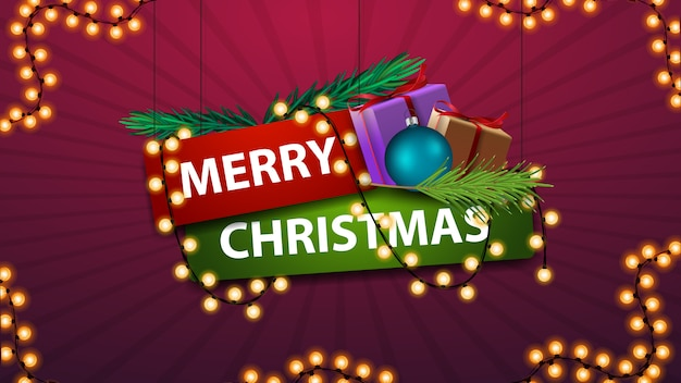 Merry christmas, sign in cartoon style with gifts and garland. emblem