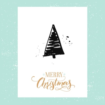 Merry christmas simple greeting card with hand drawn christmas tree. vector design template with calligraphy type.