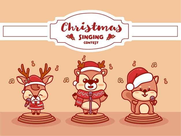 С рождеством христовым баннер конкурса пения. пение забавных животных музыкальный конкурс