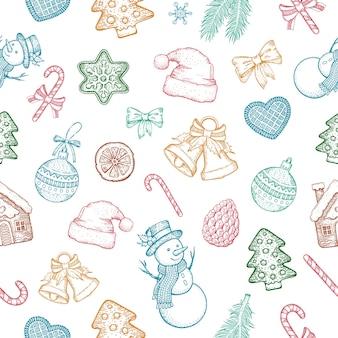 Merry christmas sketch seamless pattern