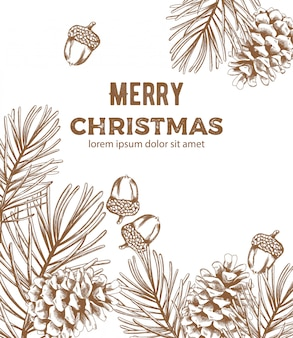 Merry christmas sketch style composition with ornaments