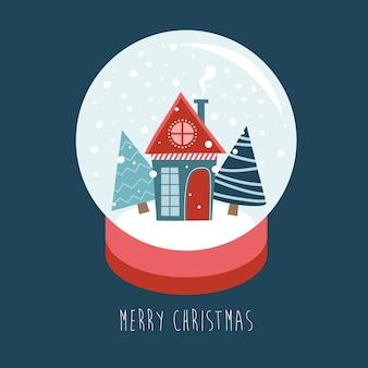 작은 집과 눈 아래 전나무가 있는 메리 크리스마스 스노우 글로브. 연하장